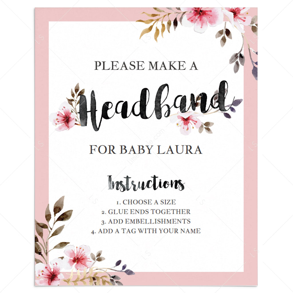 Headband station sign for floral baby shower printable by LittleSizzle