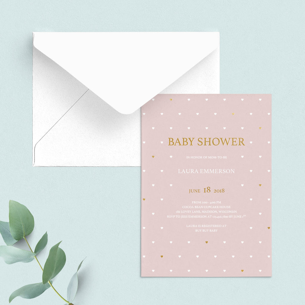 Pink and gold baby shower invitation PDF template by LittleSizzle