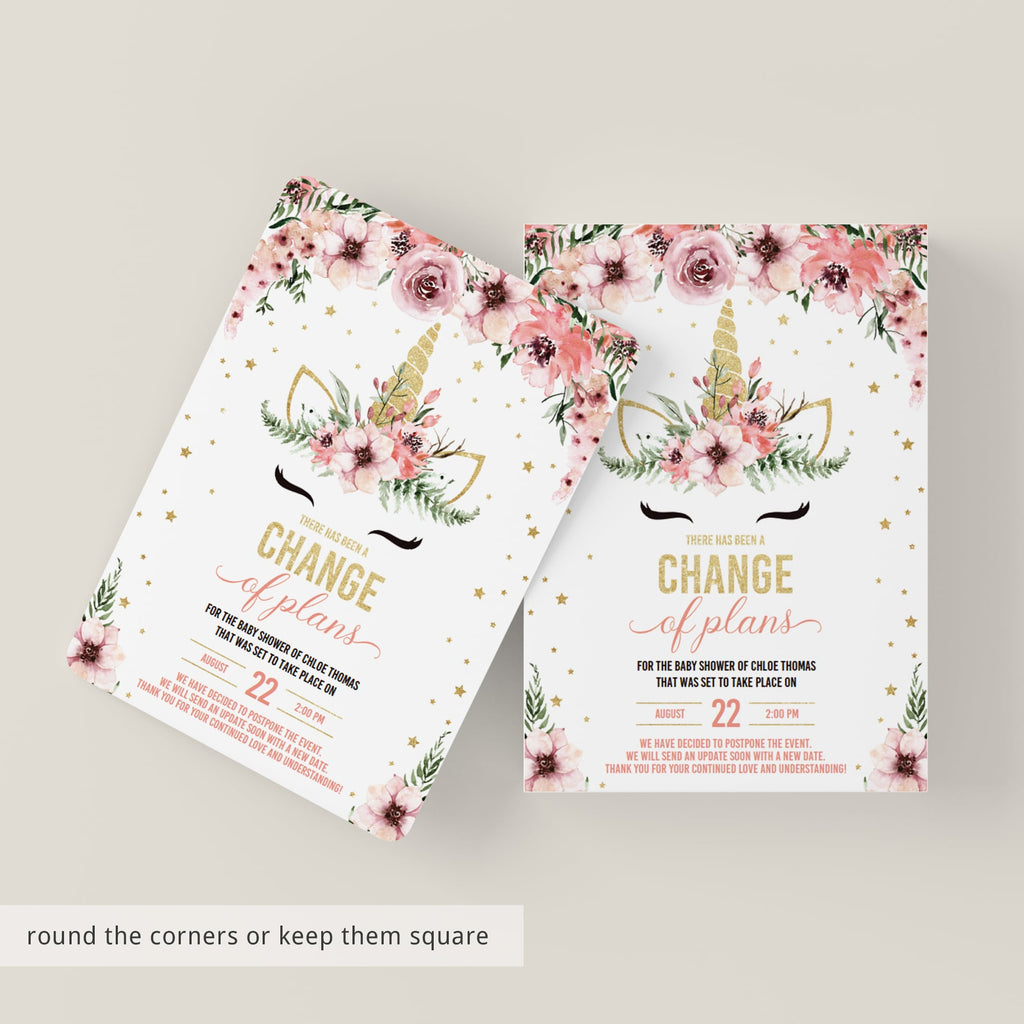 Change of plans baby shower template for girl by LittleSizzle