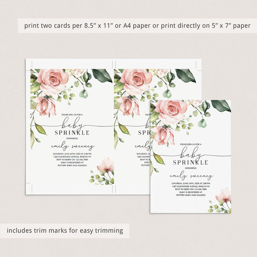 DIY babysprinkle invitation template blush floral by LittleSizzle