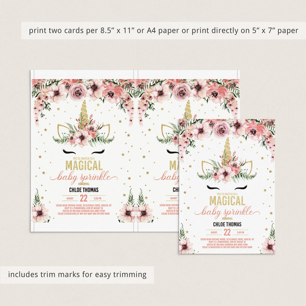Unicorn Baby Sprinkle Invitation Template Pink and Gold