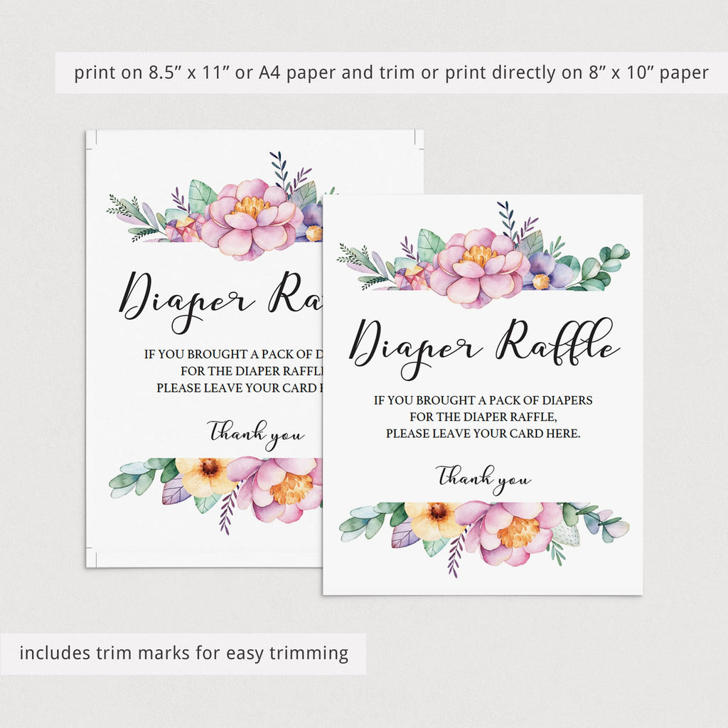Instant download diaper raffle sign for girl baby shower by LittleSizzle
