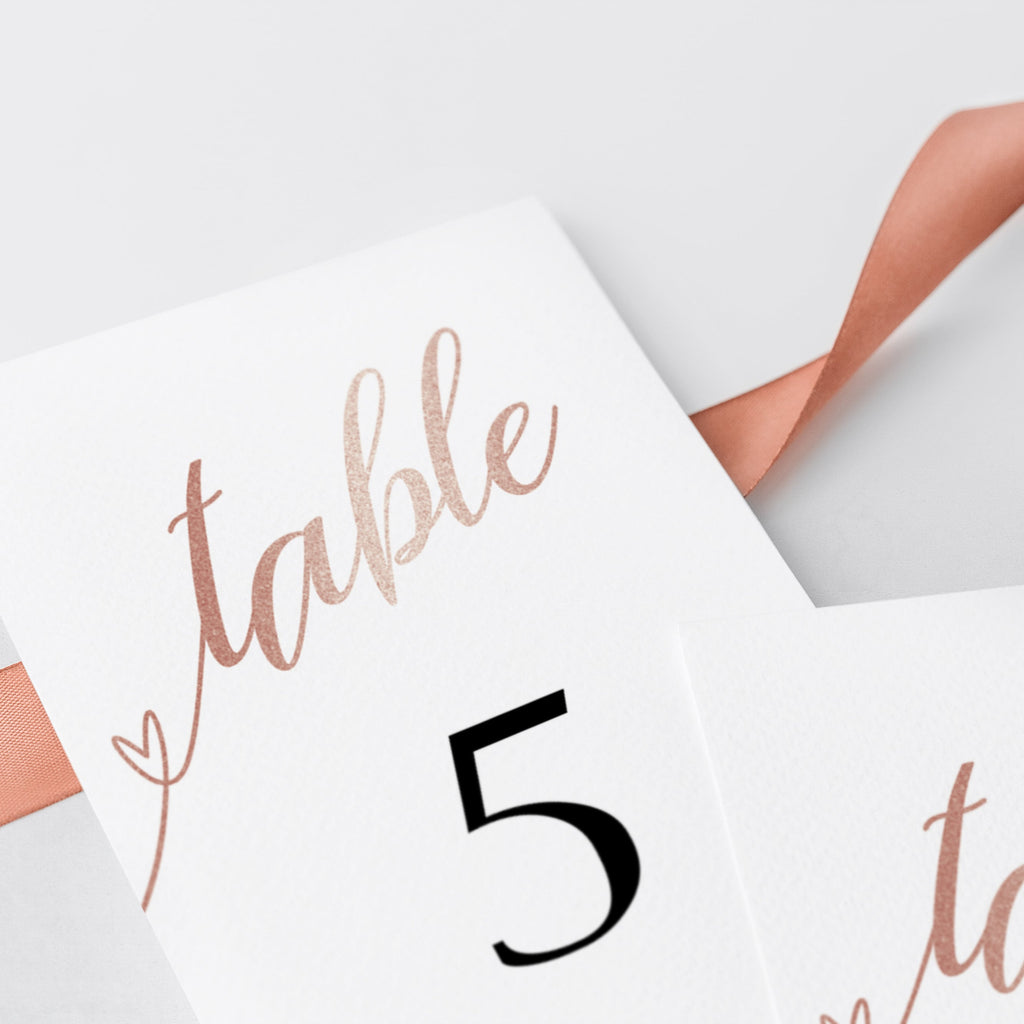Chic Table Decor Rose Gold Table Numbers Template