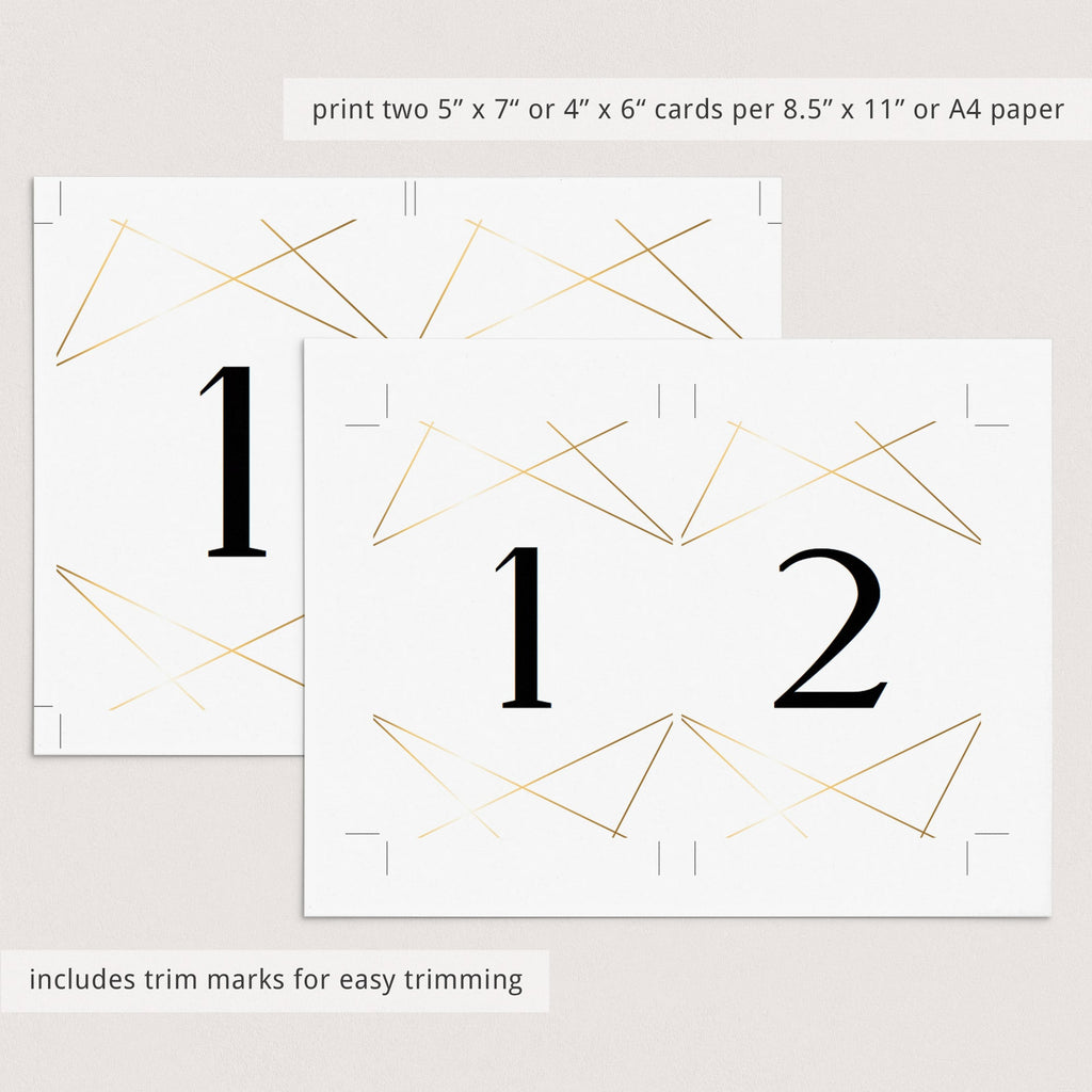 Editable gold table numbers template by LittleSizzle