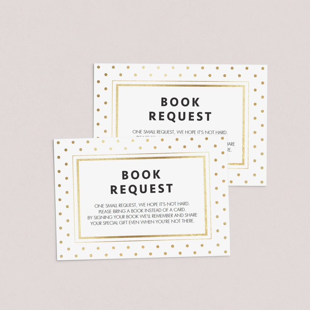 Bring a book baby shower card template for gold themed baby shower by LittleSizzle