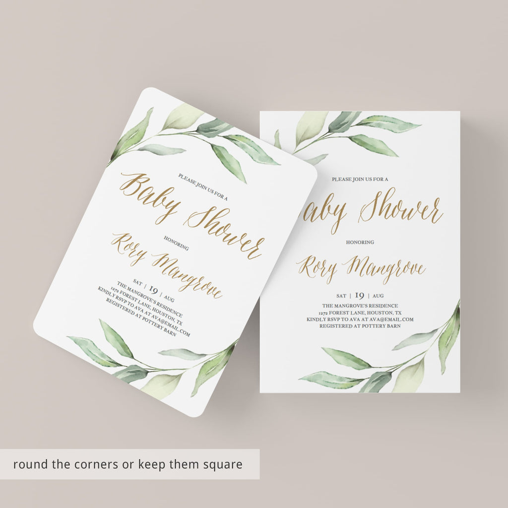 Classy green baby shower invitation template with gold lettering by LittleSizzle