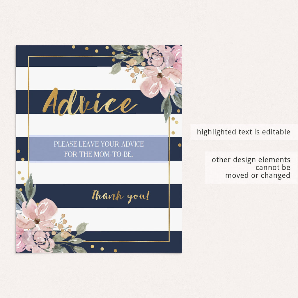 Editable floral and navy baby shower decor by LittleSizzle