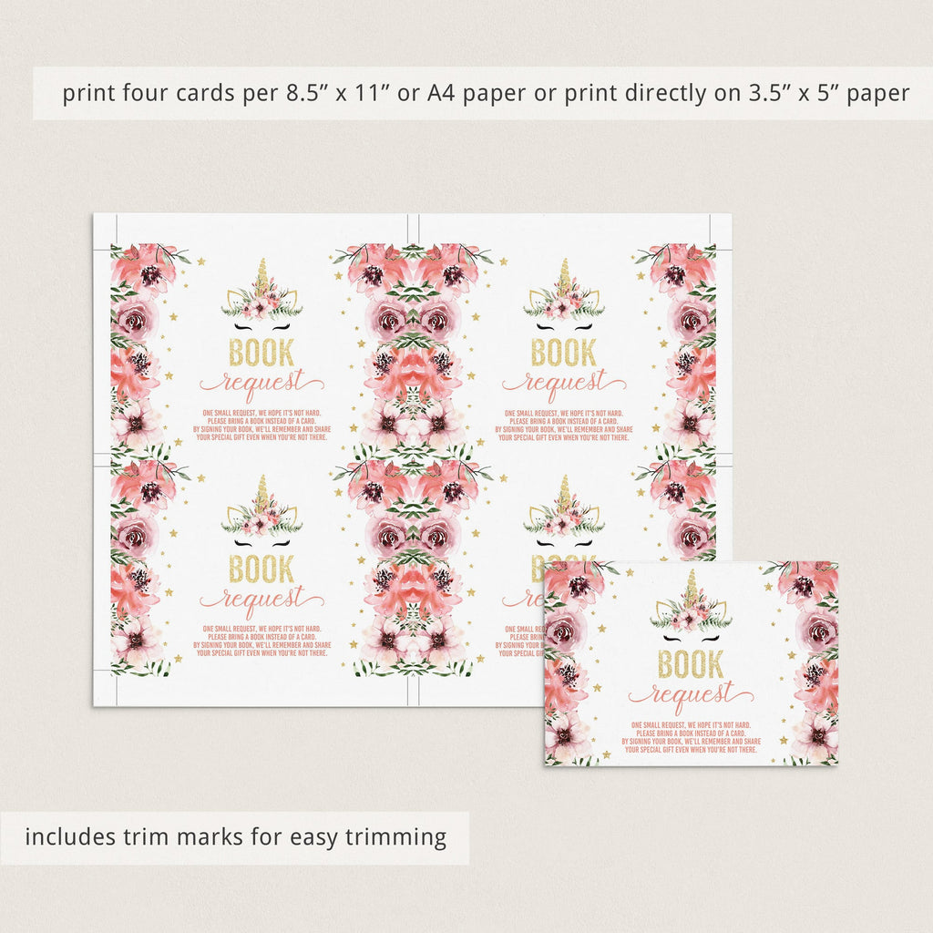 DIY unicorn babyshower book cards printable pink girl by LittleSizzle