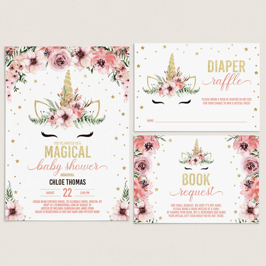 Unicorn baby shower invitation bundle pink and gold by LittleSizzle