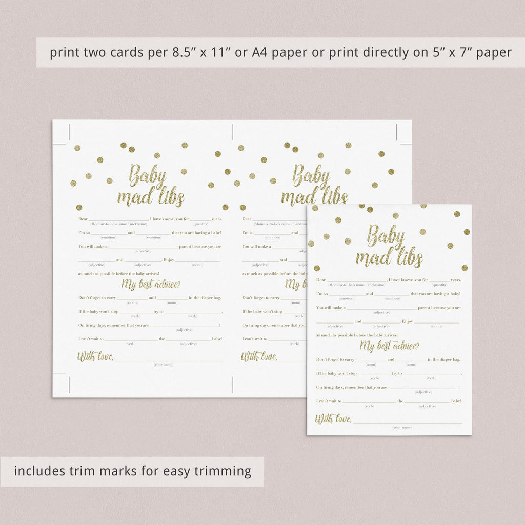 Baby madlibs baby shower game card with gold glitter confetti by LittleSizzle