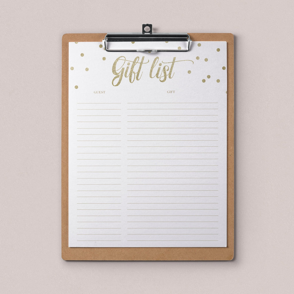 Gold gift list printable by LittleSizzle