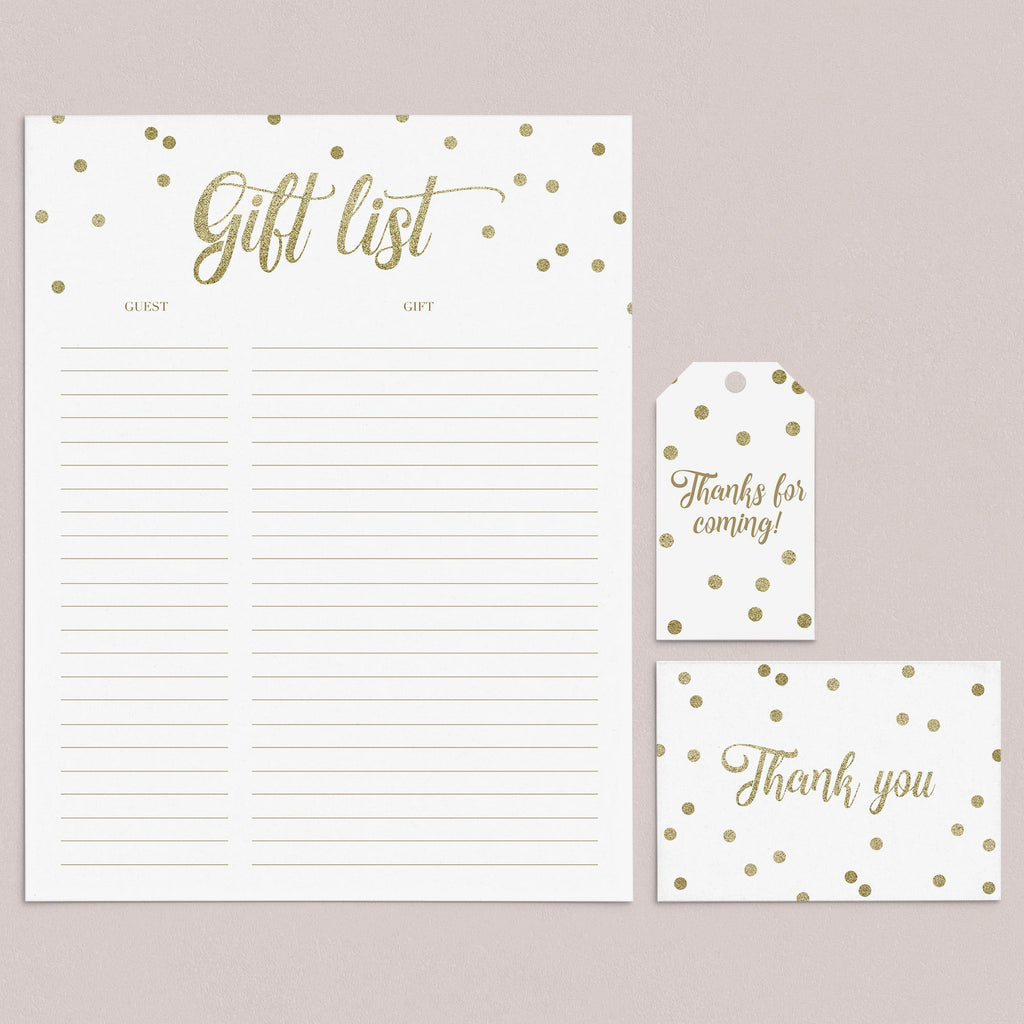 Gold Confetti Gift List, Cards and Labels printable by LittleSizzle