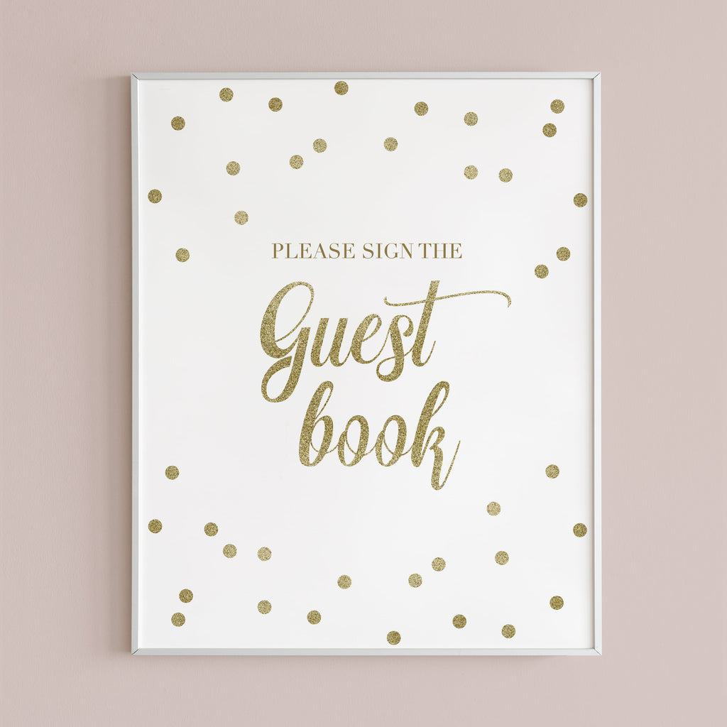 Gold Please Sign The Guest Book Sign Printable