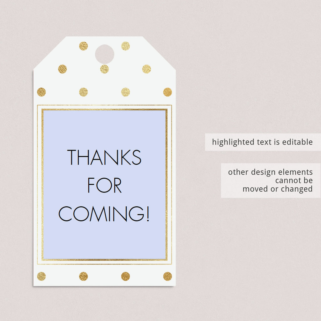 Printable baby shower favor tag template gold by LittleSizzle