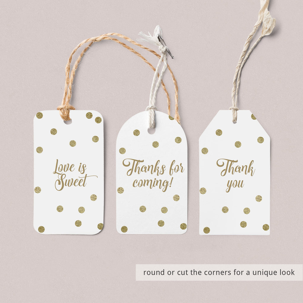 DIY gift labels gold confetti by LittleSizzle