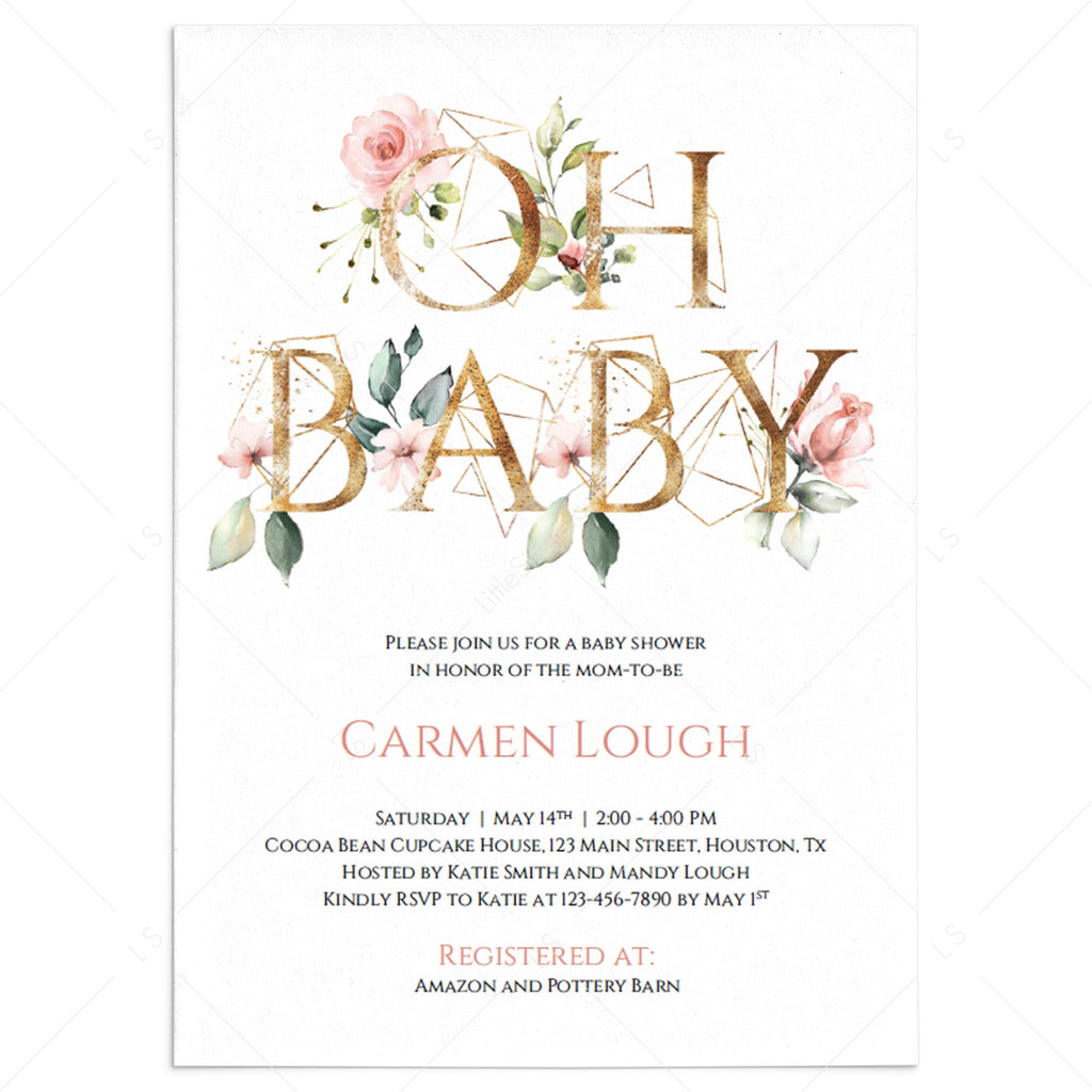 Pink Floral Oh Baby Shower Invitation Template Set Blush Pink Floral Printable Girl Baby Shower Invitation Gold Geometric Baby Shower Invite