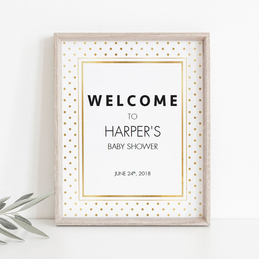 Editable welcome sign template white and gold by LittleSizzle