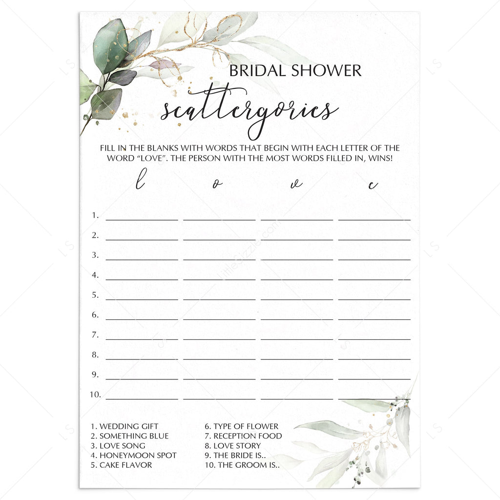 Bridal Scattergories Game Greenery And Gold Printable Instant Downlaod Littlesizzle