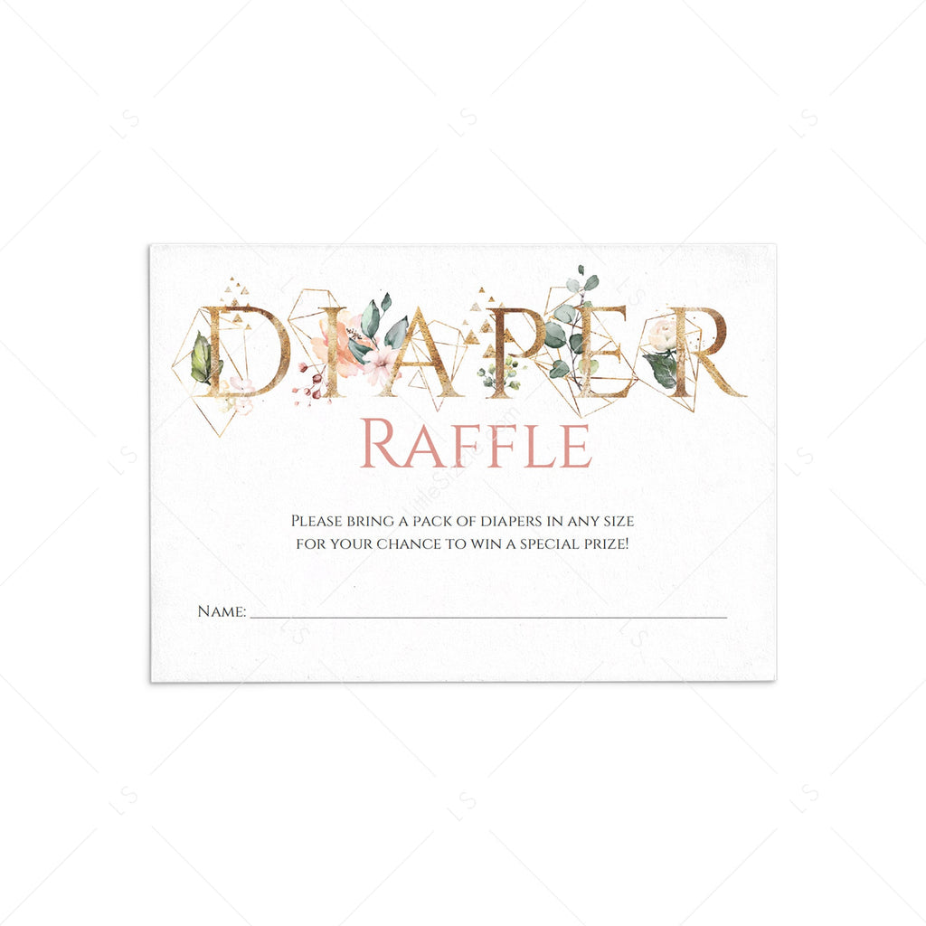 Gold diaper raffle ticket for modern baby shower by LittleSizzle