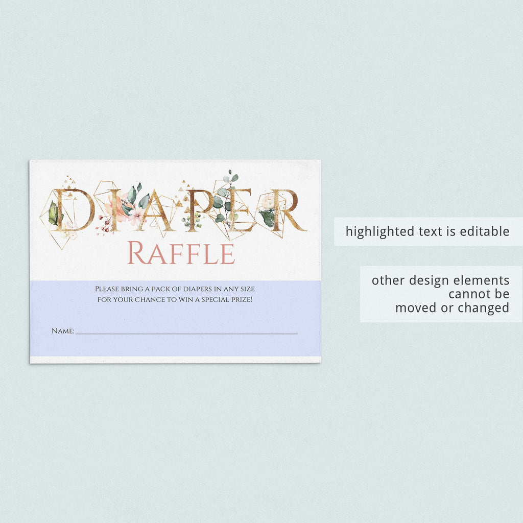 Gold greenery babyshower games diaper raffle ticket printable by LittleSizzle