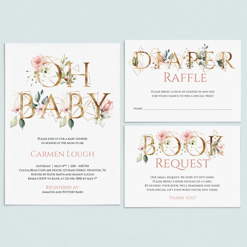 Gold floral baby shower invitation set Oh Baby template by LittleSizzle