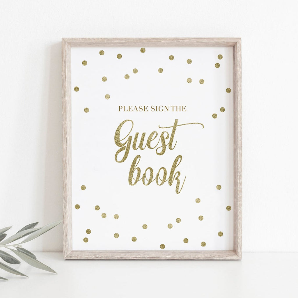 Please sign our guest book sign gold printable by LittleSizzle