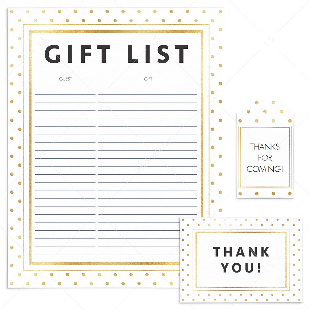 Printable Thank You Notes, Tags and Gift List with Gold Polka Dots by LittleSizzle