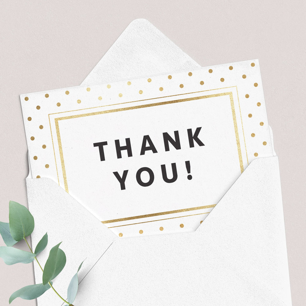 Printable folded thank you card with gold glitter by LittleSizzle