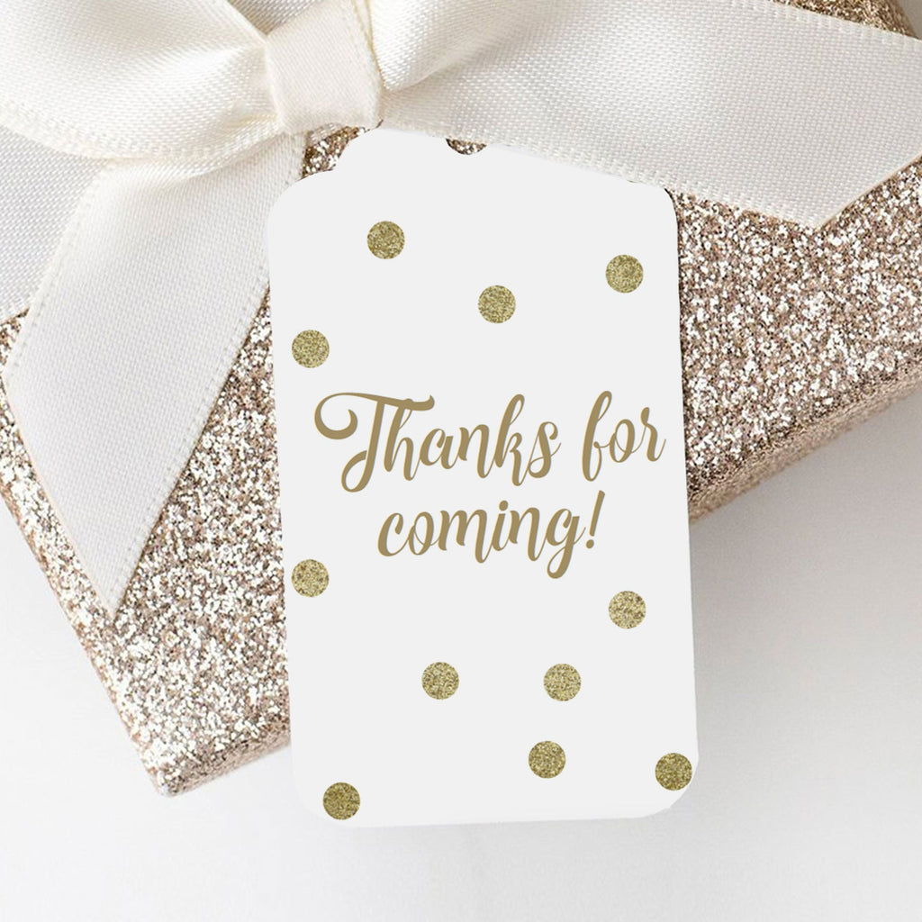 Gold confetti favor tag template editable by LittleSizzle