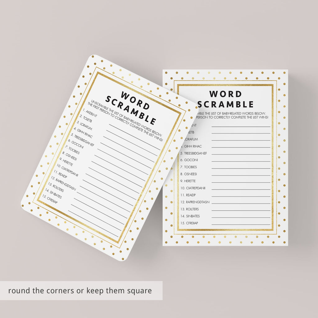Baby word scramble answer key printable by LittleSizzle