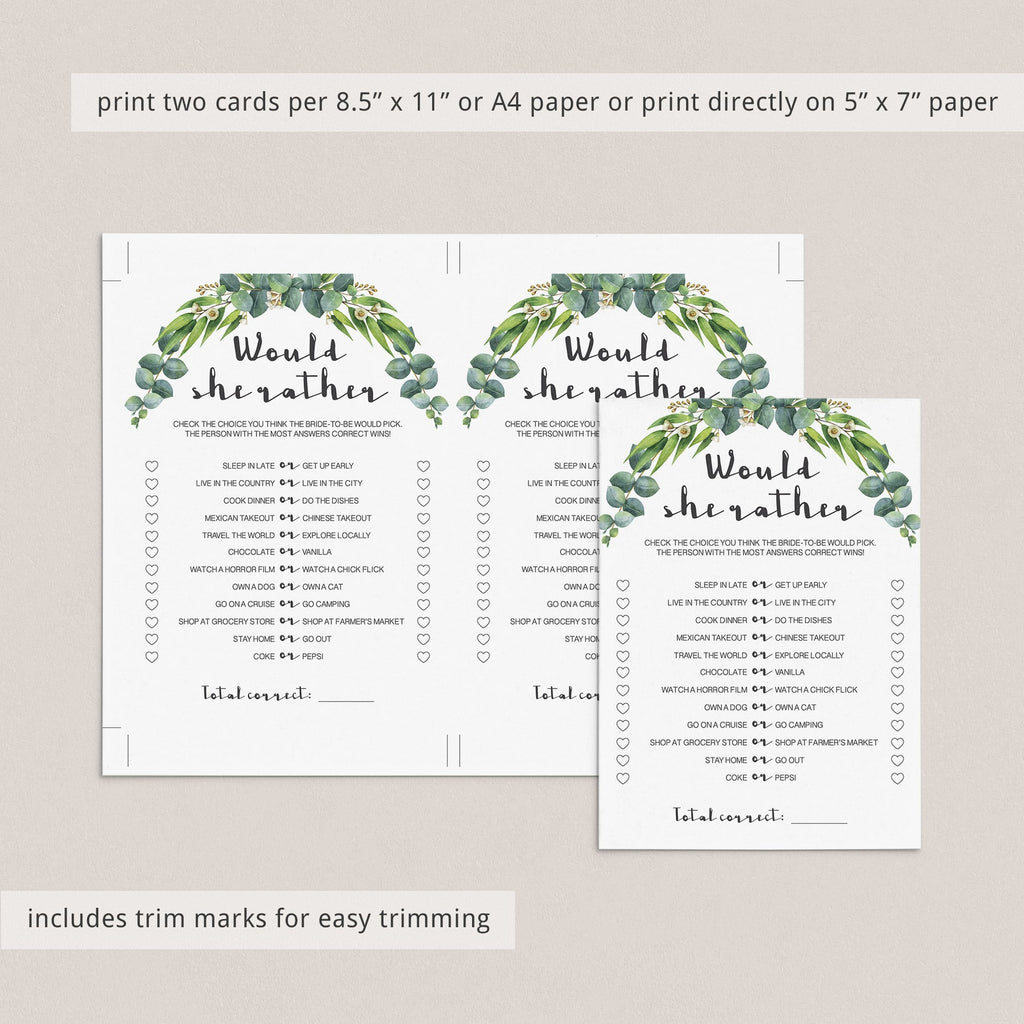 watercolor green leaves bridal shower games printable