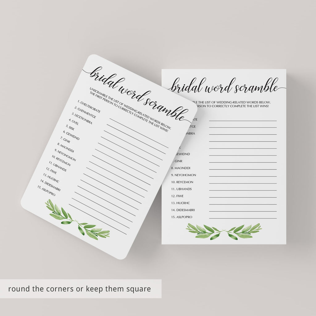 Watercolor Leaves Bridal Word Scramble Game Cards