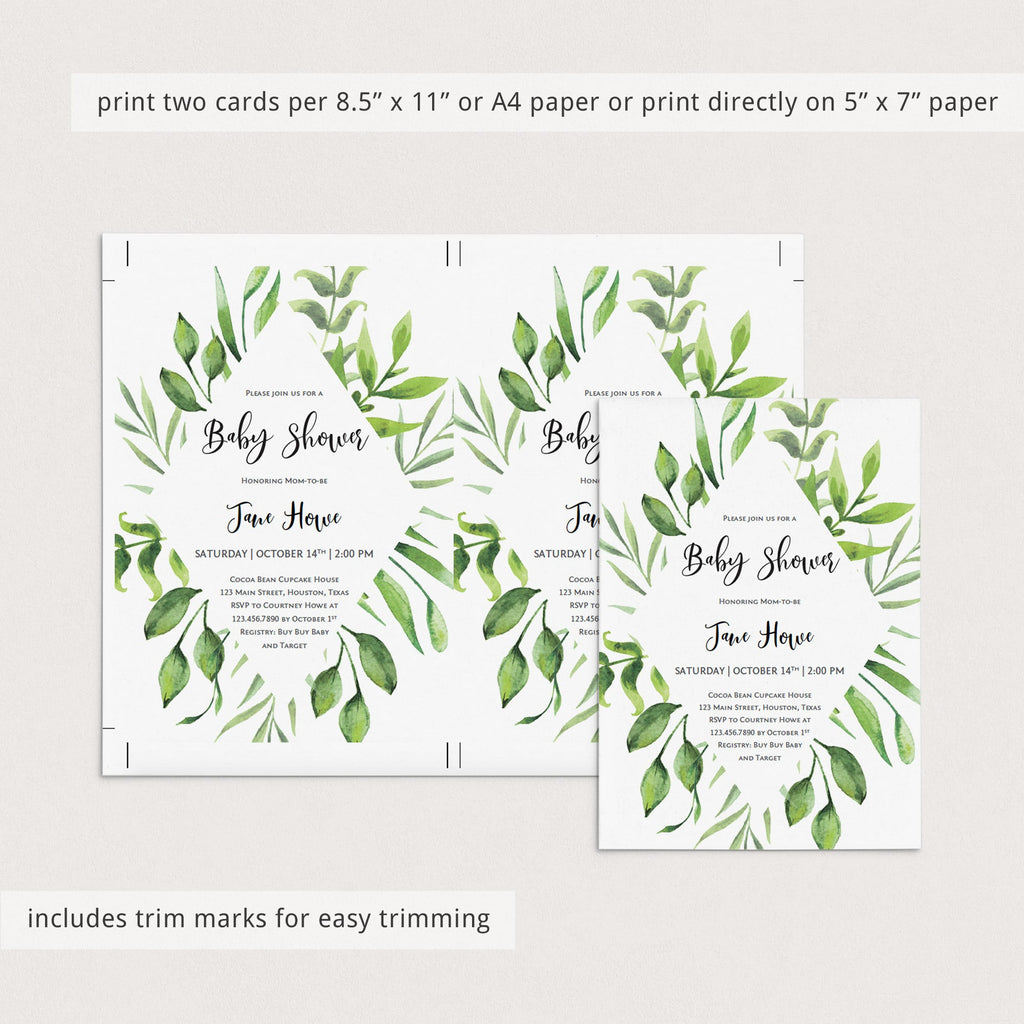 Babyshower gender neutral invitation green watercolor leaves by LittleSizzle