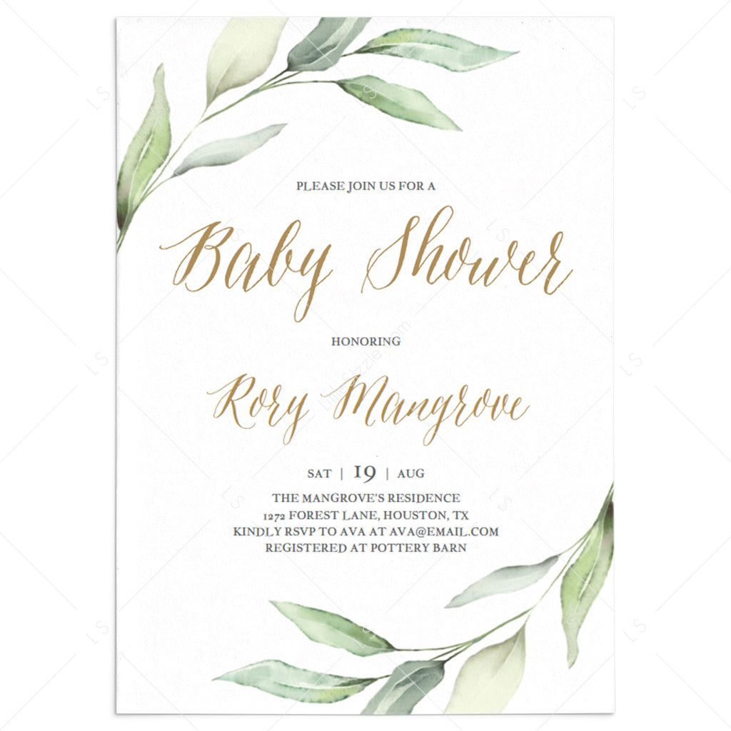 Watercolor green and gold baby shower invitation template by LittleSizzle