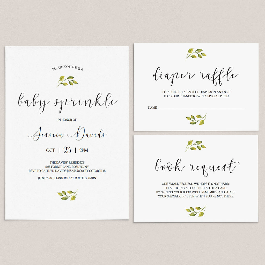 Minimal Baby Sprinkle Invitation Set Templates by LittleSizzle