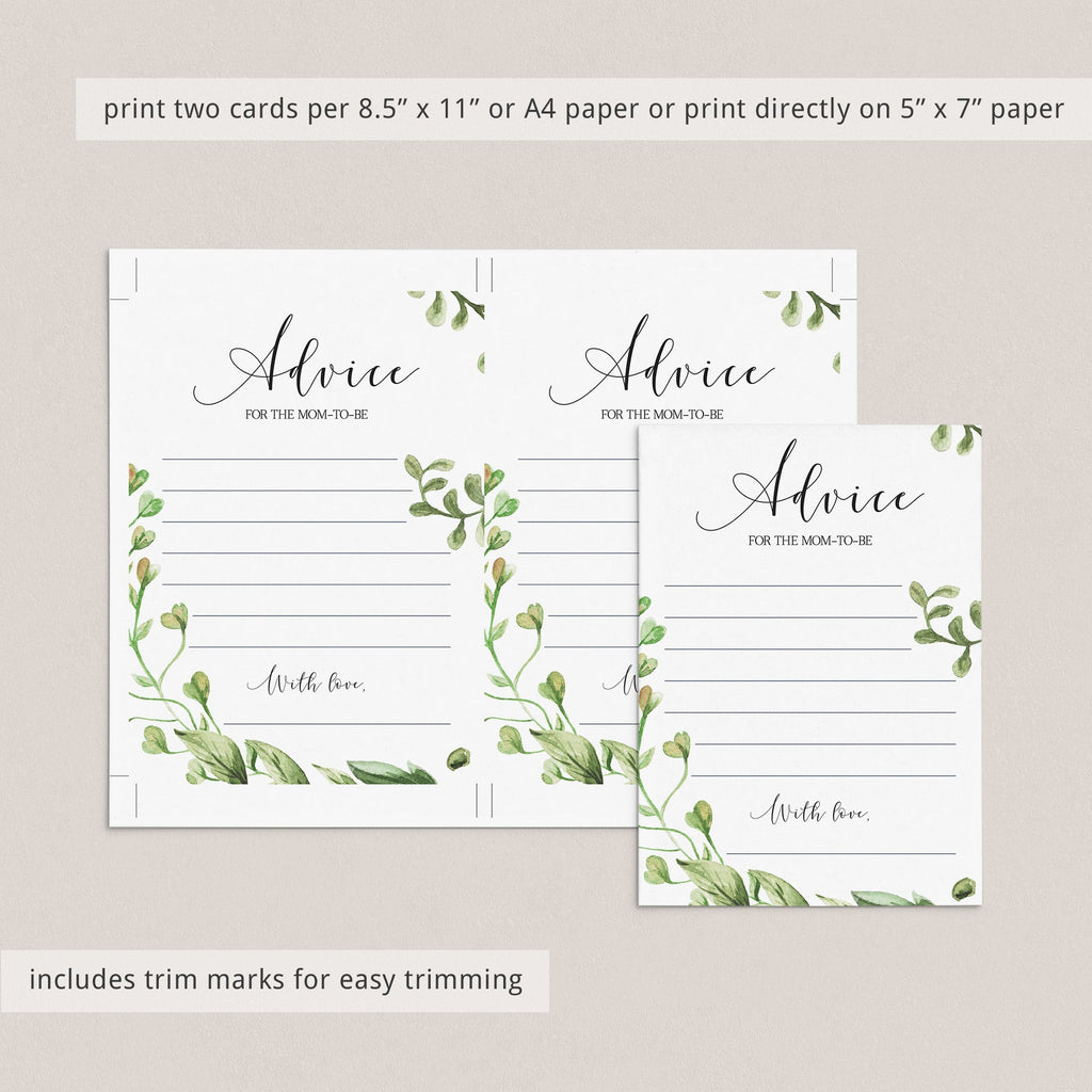Instant download advice cards for baby shower gender neutral green by LittleSizzle