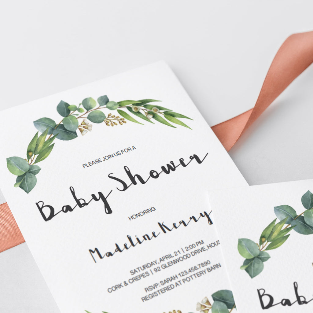 Neutral green baby party invitation template by LittleSizzle