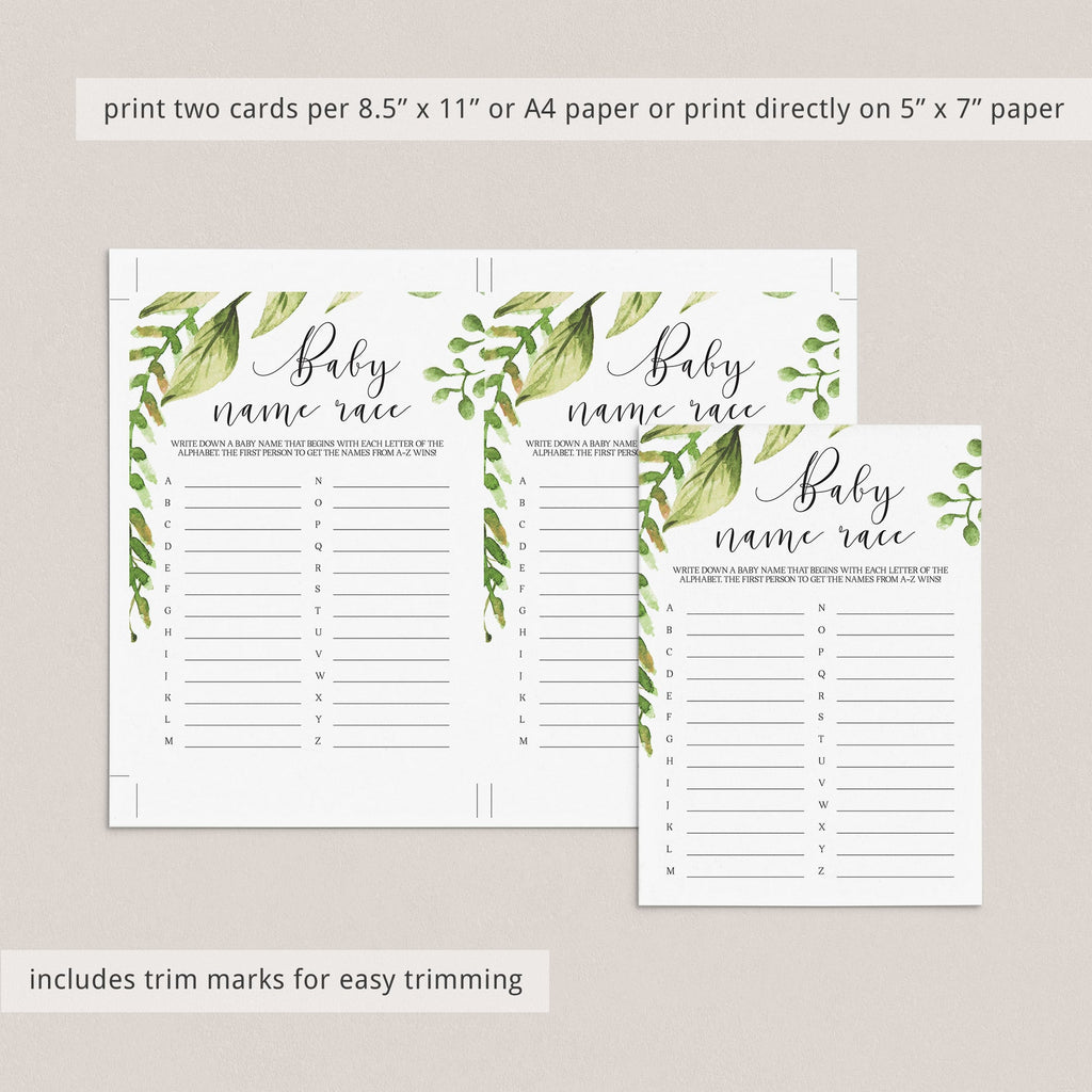 Digital baby shower games instant download green themed by LittleSizzle