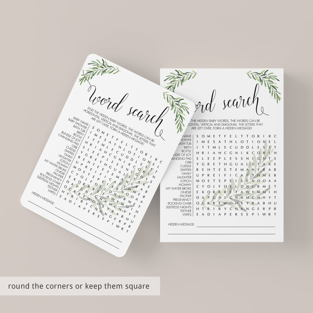 Word Search Printable Gender Neutral Baby Shower Game