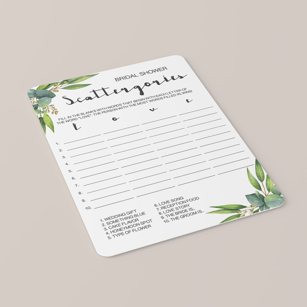 Watercolor Botanical Scattergories Bridal Shower Game