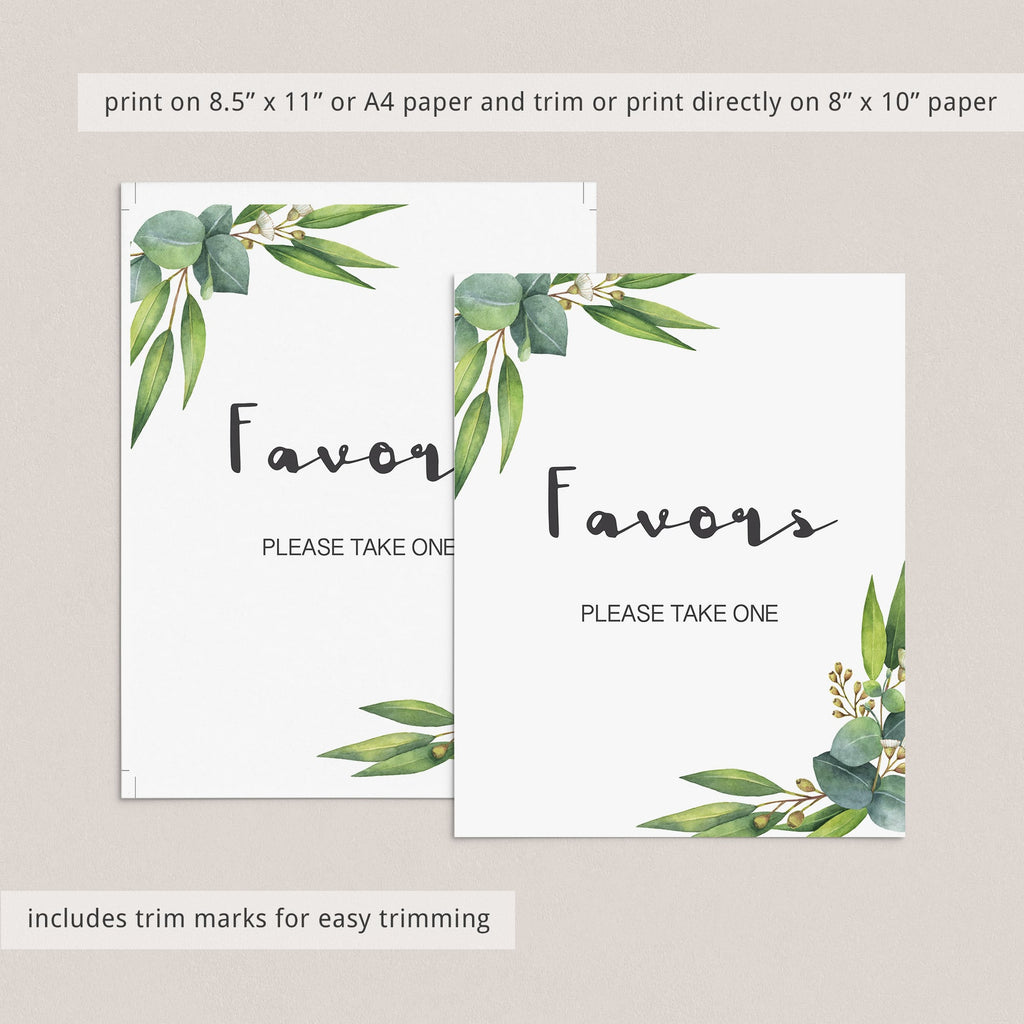 Printable botanical baby shower favors table sign by LittleSizzle