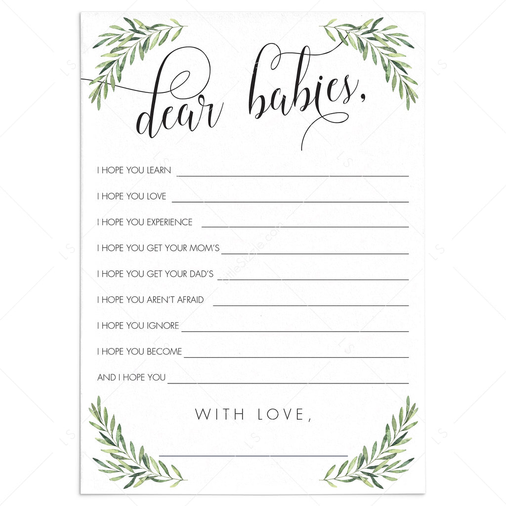 Greenery Baby Shower Wishes for Twins Printable by LittleSizzle