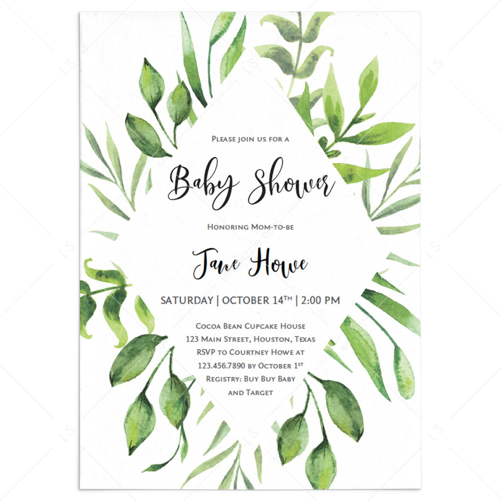 Fern and leaves baby shower invitation template by LittleSizzle