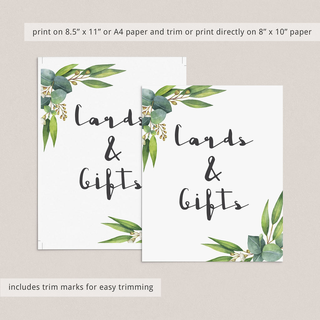 Cards & gifts table sign printable green leaves by LittleSizzle
