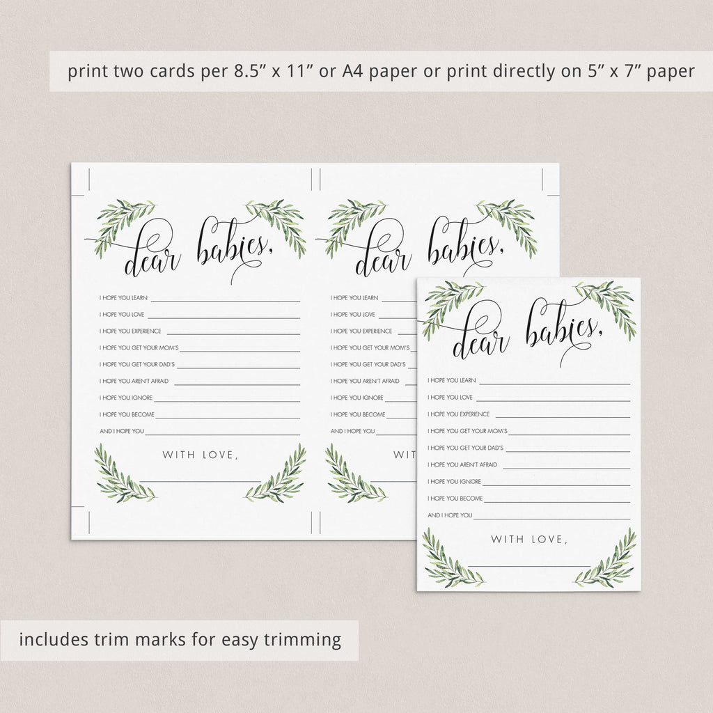 Greenery Baby Shower Wishes for Twins Printable
