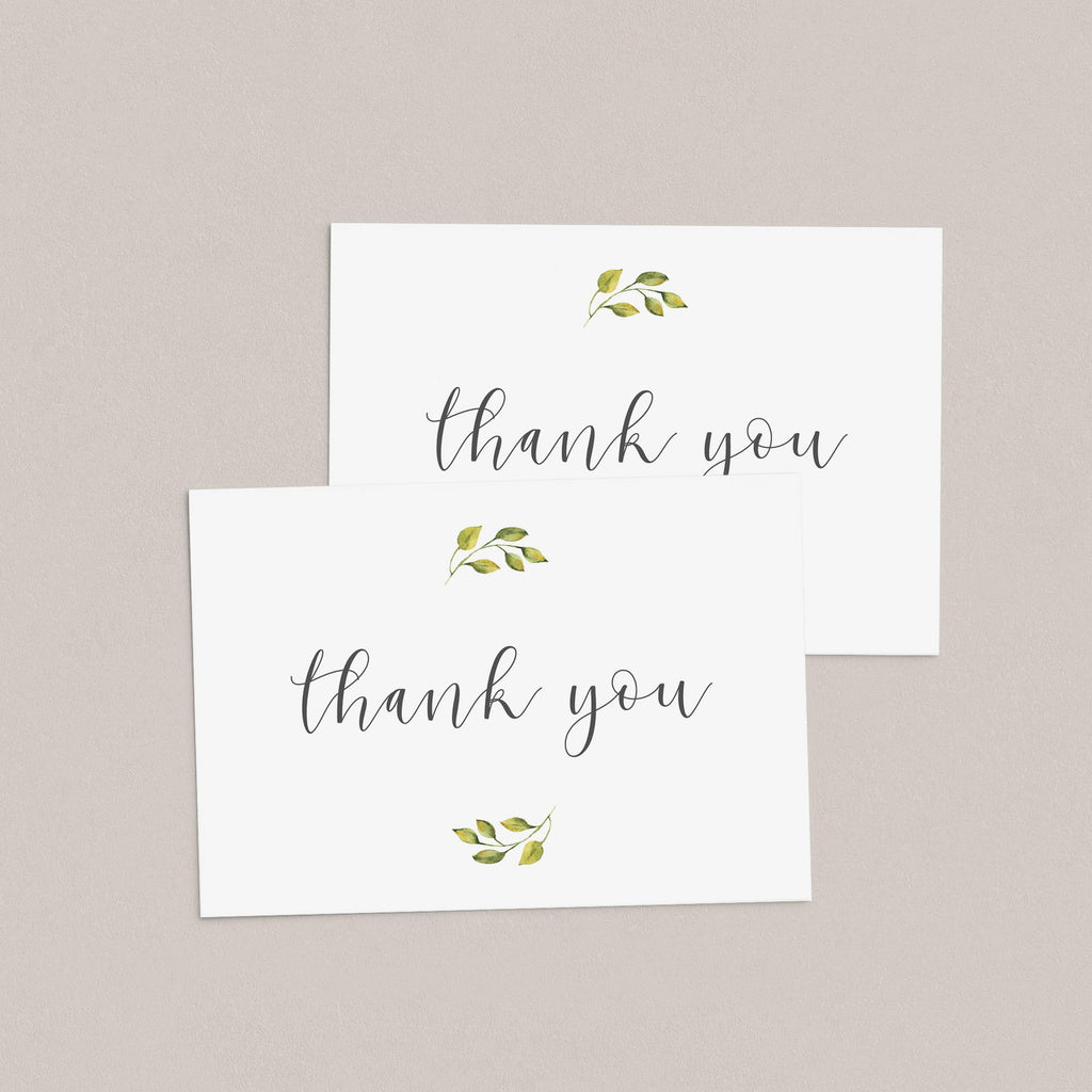 Instant download thank you cards digital files greenery by LittleSizzle