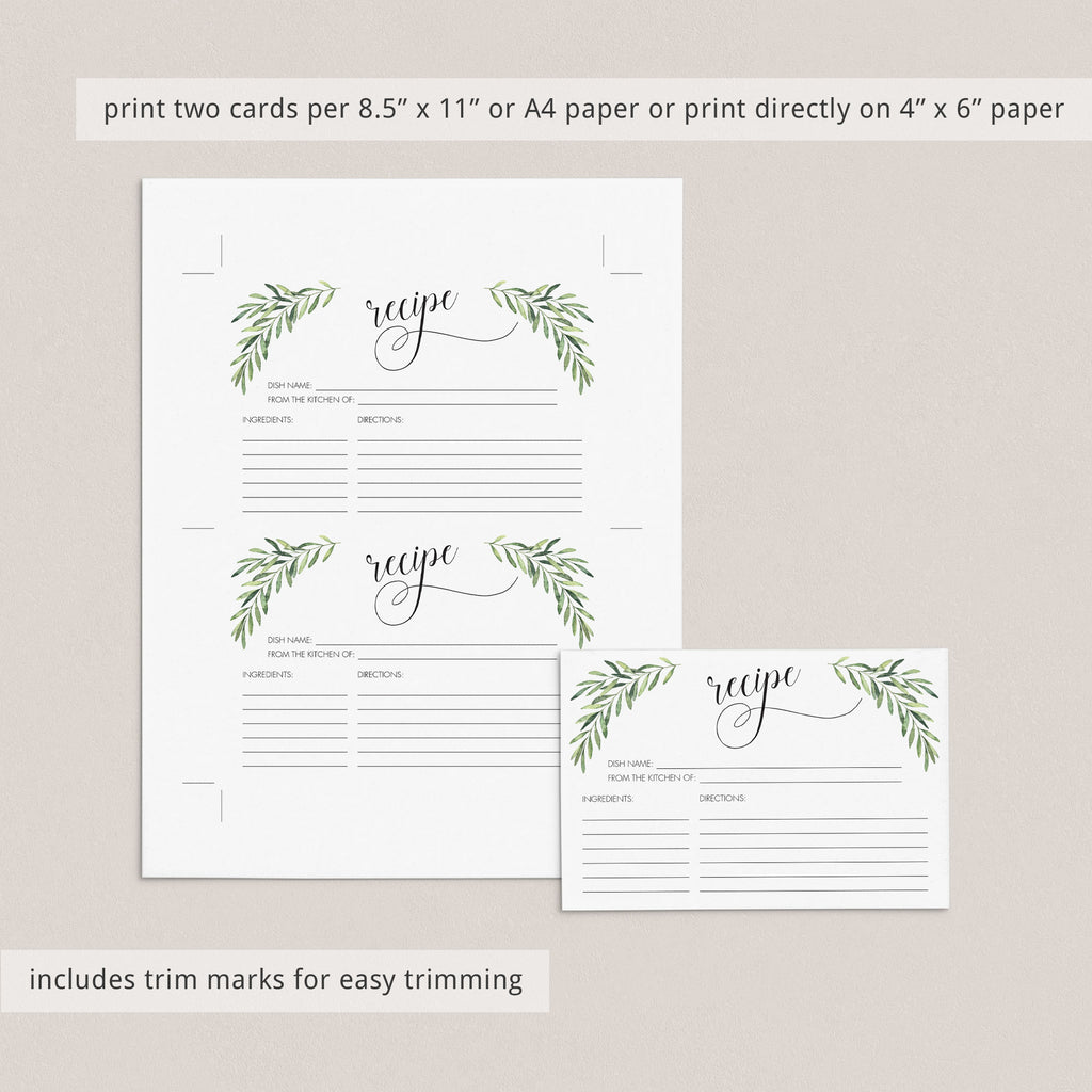 Recipe Cards Printable 4x6