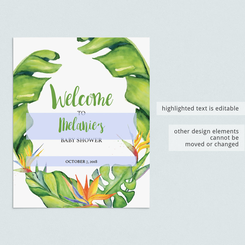 Tropical leaf shower decor download by LittleSizzle