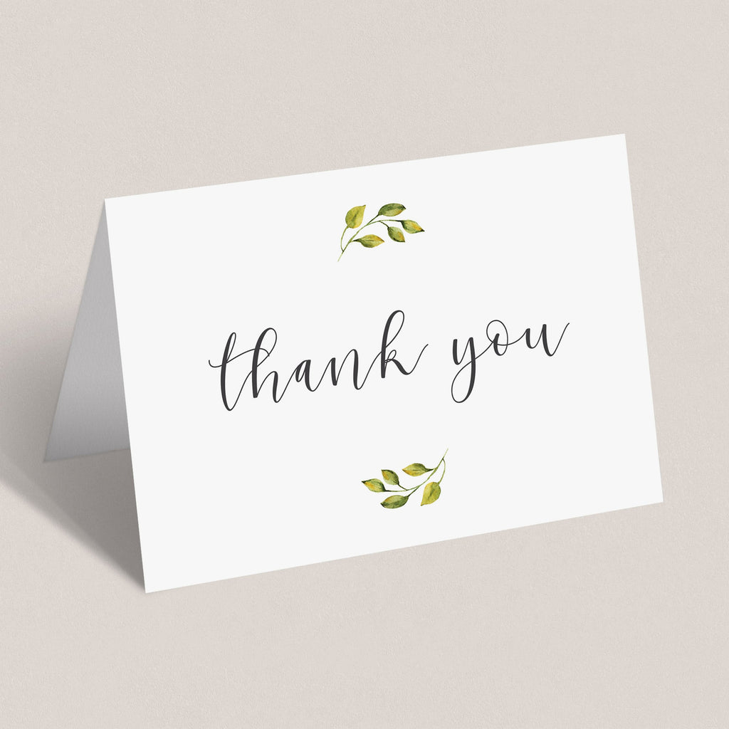 Green leaves thank you cards printable note cards by LittleSizzle