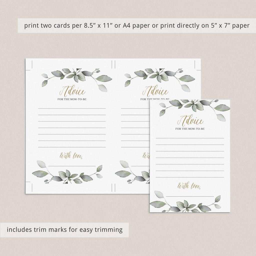 Watercolor botanical leaves baby shower games by LittleSizzle